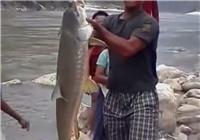 《钓友原创澳门巴黎人娱乐场》 男子用手绳钓获河流巨物