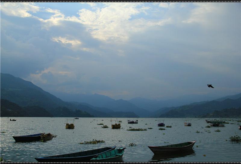 国外钓鱼风景尼泊尔垂钓圣地费瓦湖